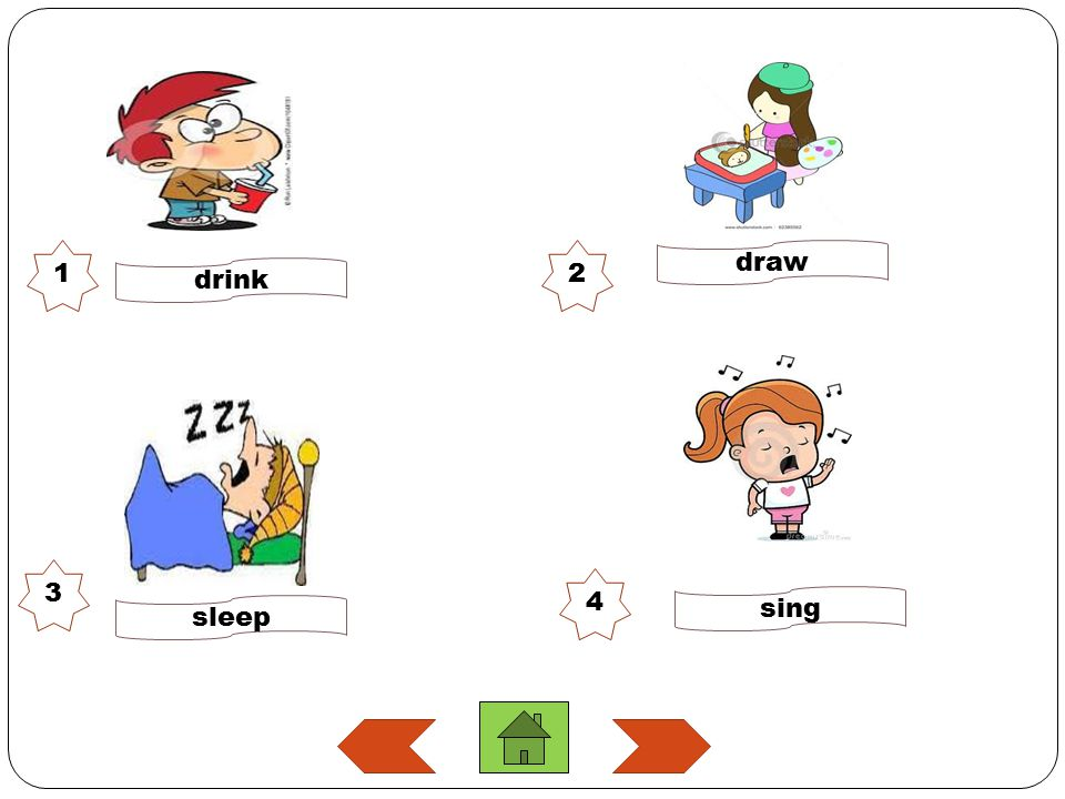 1 2 draw drink 3 4 sing sleep