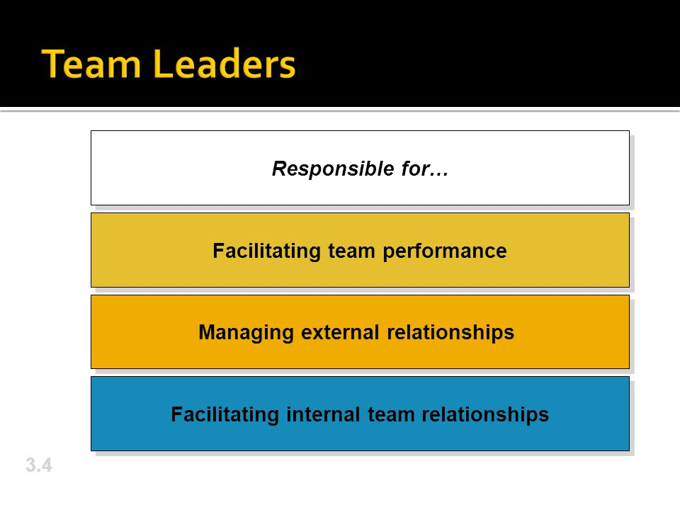 Team Leaders Responsible for… Facilitating team performance