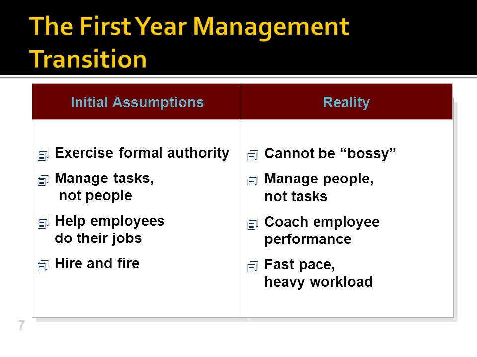 The First Year Management Transition