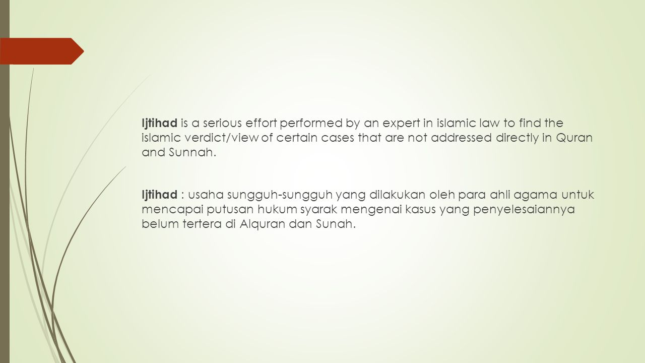 Ijtihad is a serious effort performed by an expert in islamic law to find the islamic verdict/view of certain cases that are not addressed directly in Quran and Sunnah.