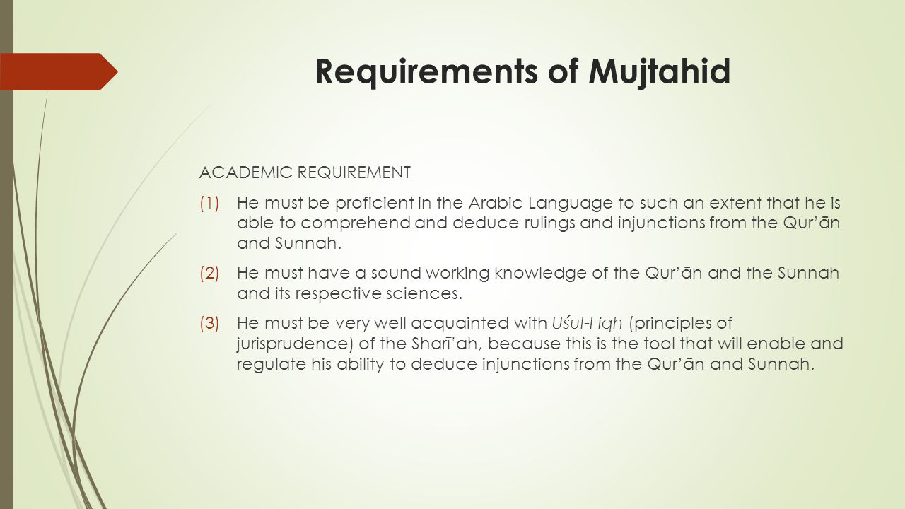 Requirements of Mujtahid