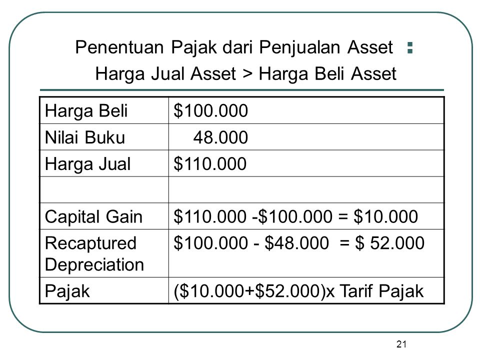 Penentuan Pajak dari Penjualan Asset : Harga Jual Asset > Harga Beli Asset
