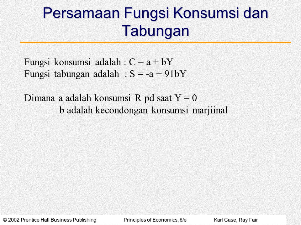 Persamaan Fungsi Konsumsi dan Tabungan