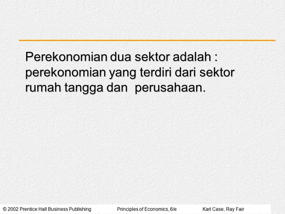 Perekonomian dua sektor adalah : perekonomian yang terdiri dari sektor rumah tangga dan perusahaan.