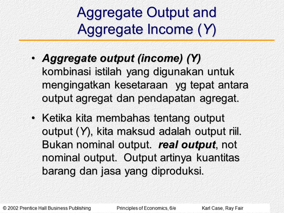 Aggregate Output and Aggregate Income (Y)