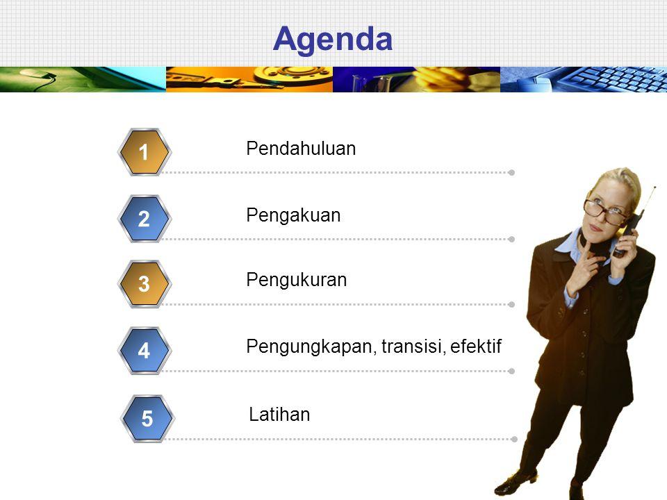 Agenda 1 2 3 4 5 Pendahuluan Pengakuan Pengukuran