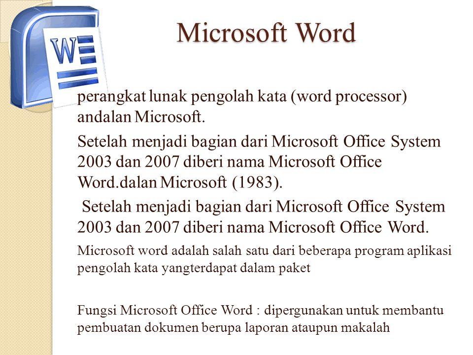 Microsoft Word perangkat lunak pengolah kata (word processor) andalan Microsoft.