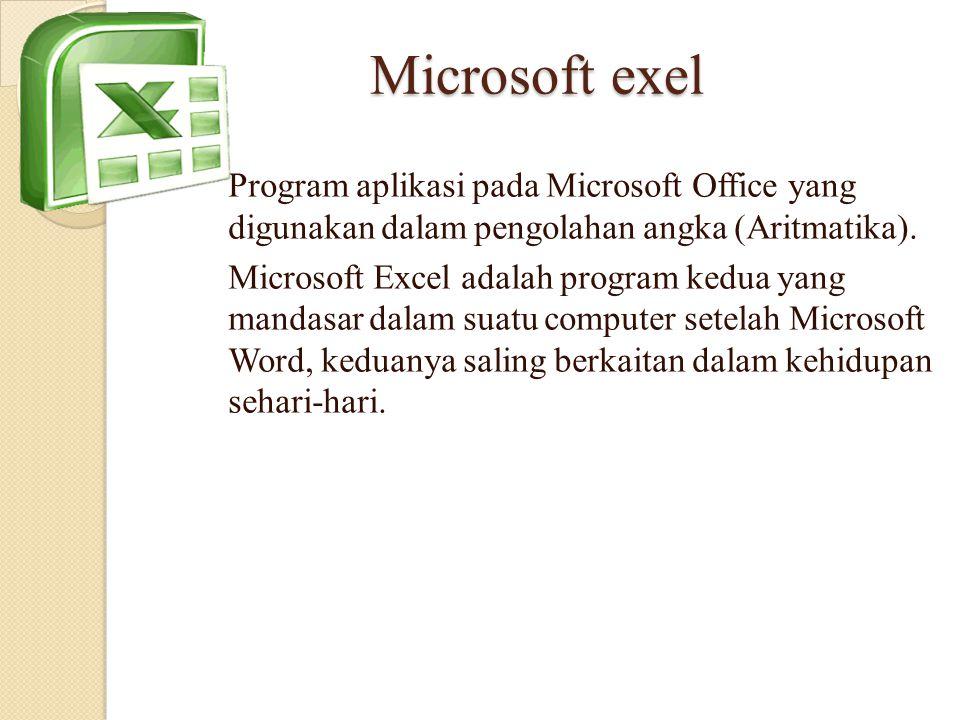 Microsoft exel Program aplikasi pada Microsoft Office yang digunakan dalam pengolahan angka (Aritmatika).