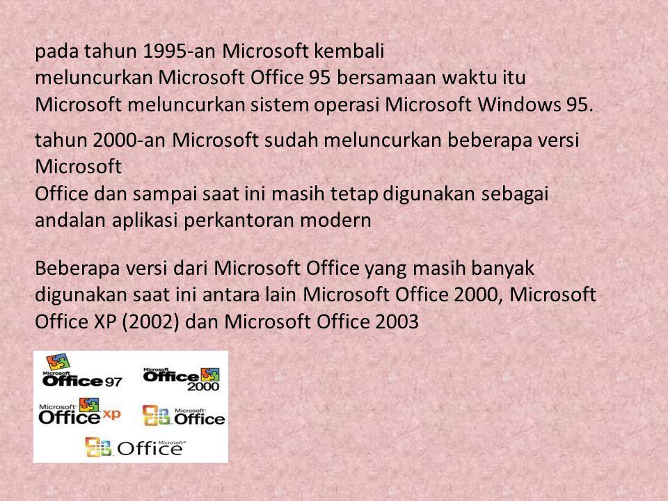 pada tahun 1995-an Microsoft kembali