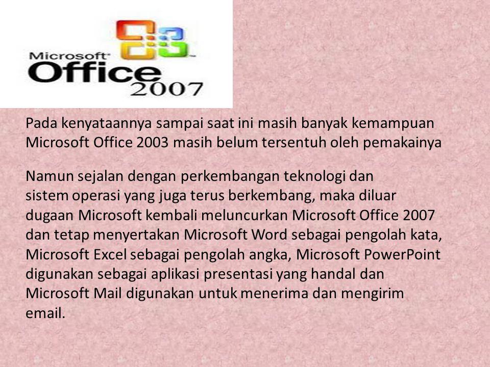 Pada kenyataannya sampai saat ini masih banyak kemampuan Microsoft Office 2003 masih belum tersentuh oleh pemakainya