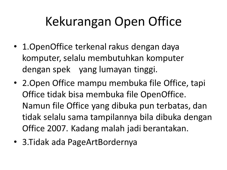 Kekurangan Open Office