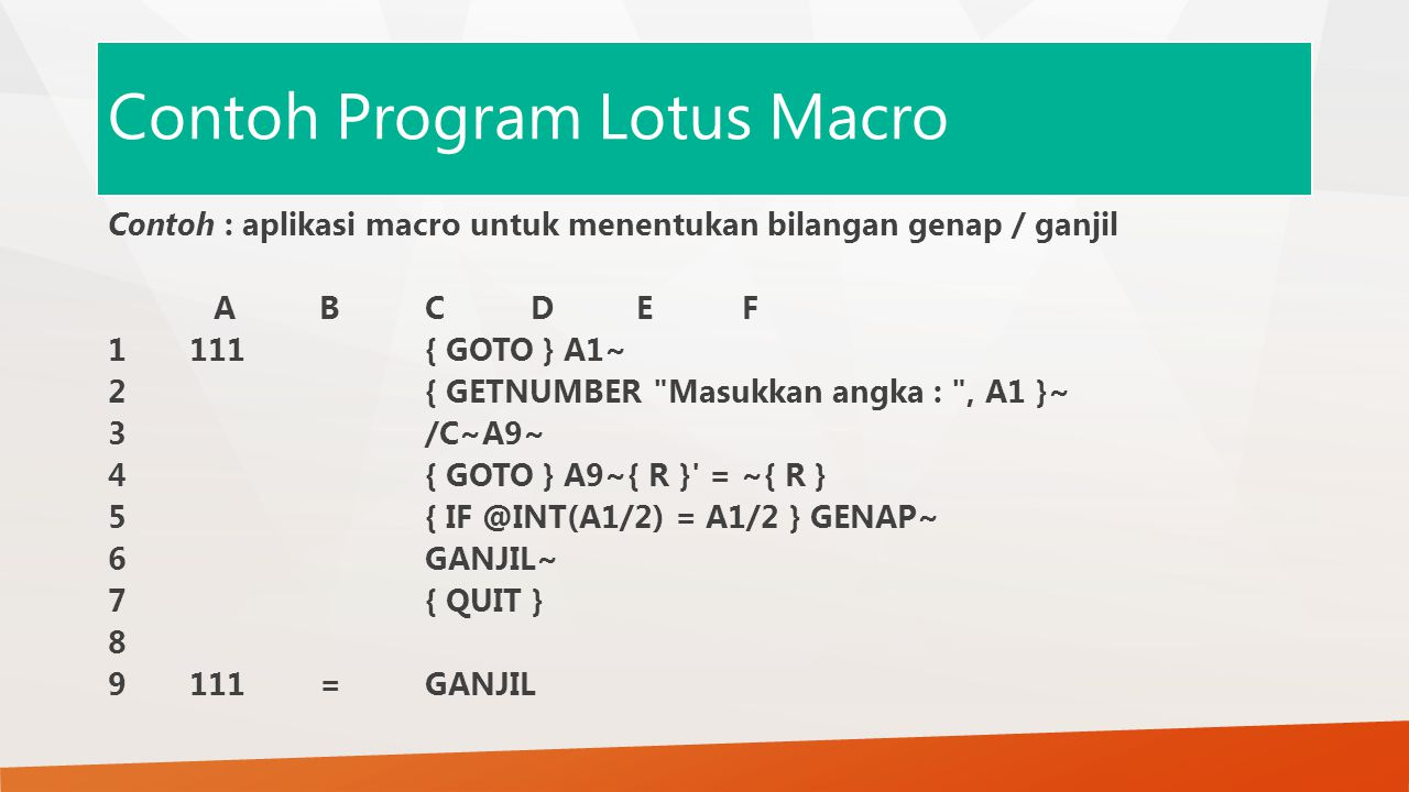 Contoh Program Lotus Macro