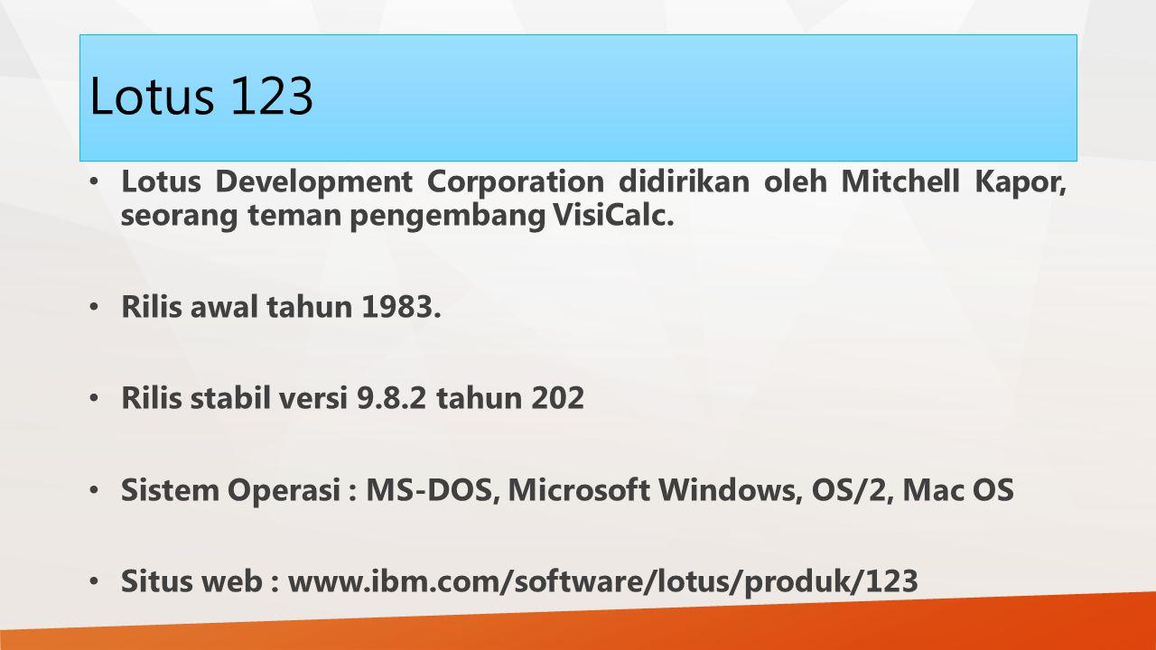 Lotus 123 Lotus Development Corporation didirikan oleh Mitchell Kapor, seorang teman pengembang VisiCalc.