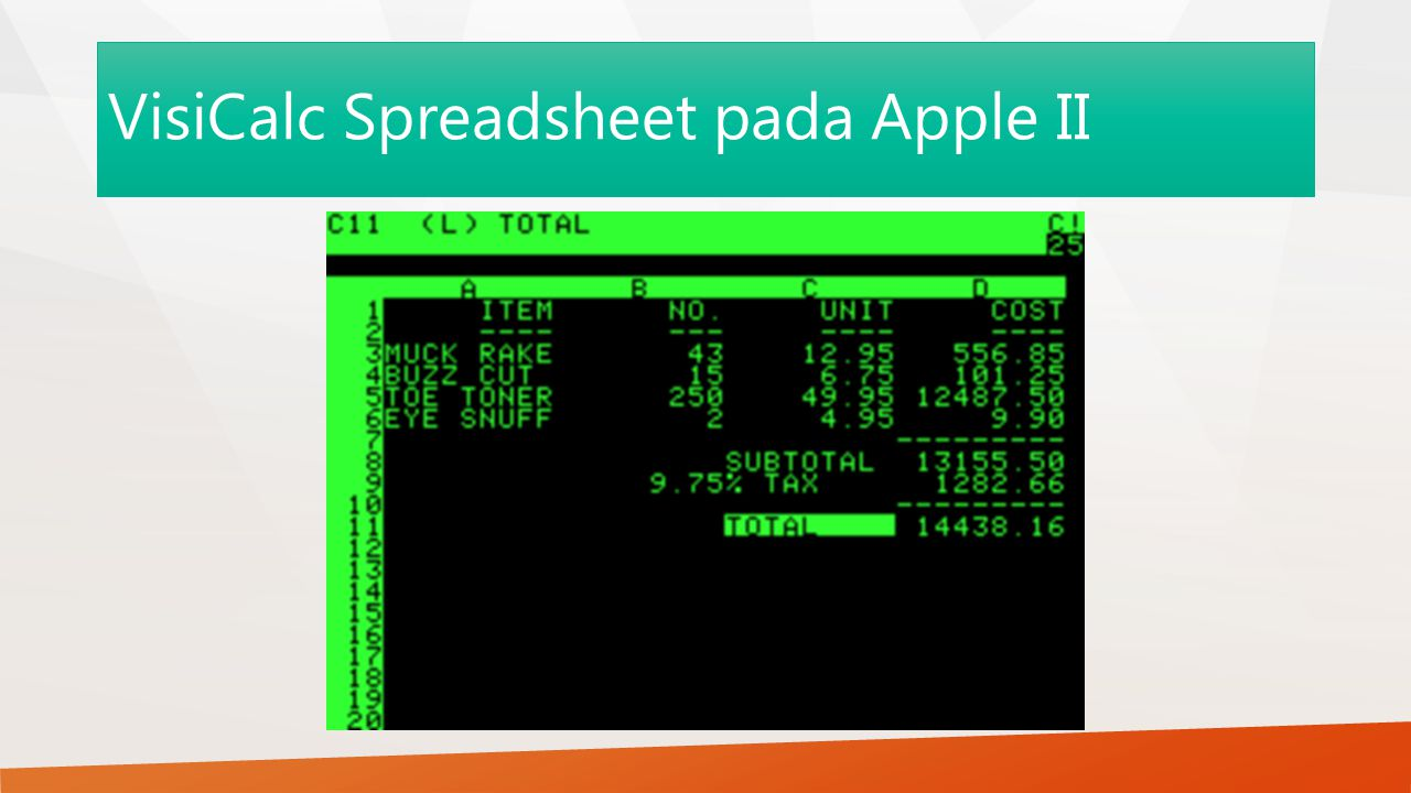 VisiCalc Spreadsheet pada Apple II