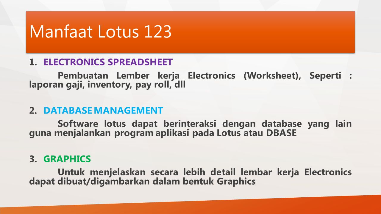 Manfaat Lotus 123 ELECTRONICS SPREADSHEET