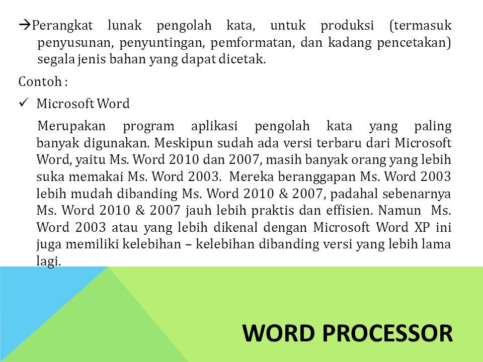 Perangkat lunak pengolah kata, untuk produksi (termasuk penyusunan, penyuntingan, pemformatan, dan kadang pencetakan) segala jenis bahan yang dapat dicetak.