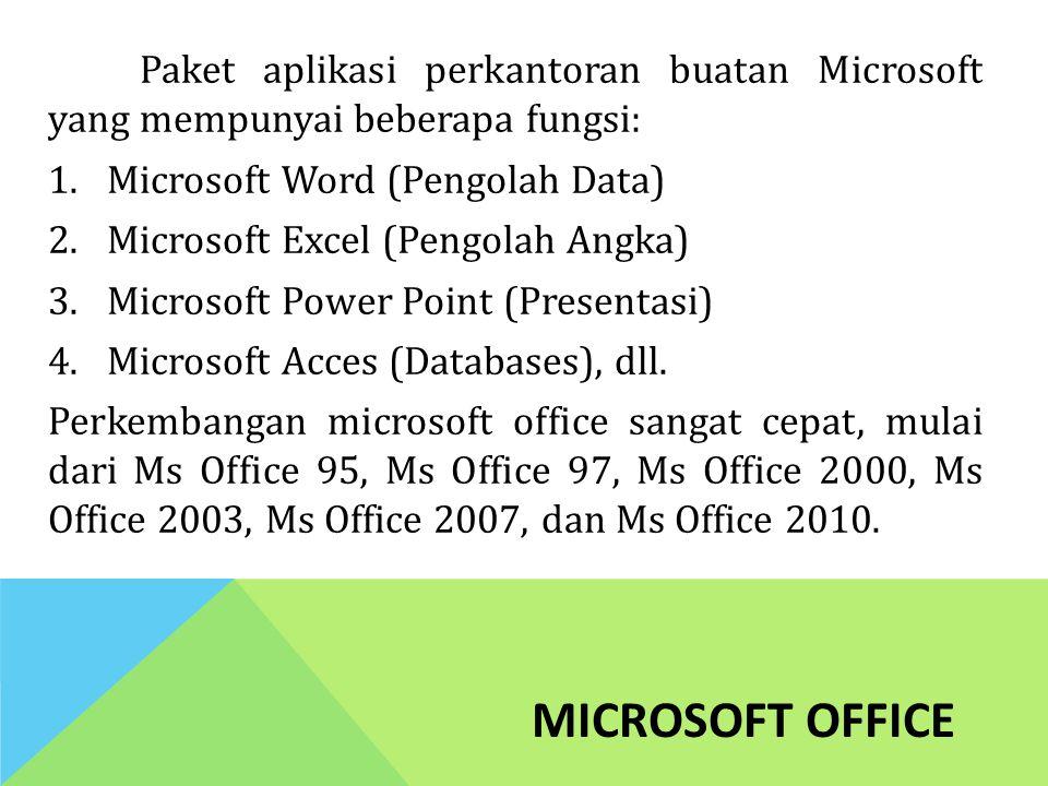 Paket aplikasi perkantoran buatan Microsoft yang mempunyai beberapa fungsi: