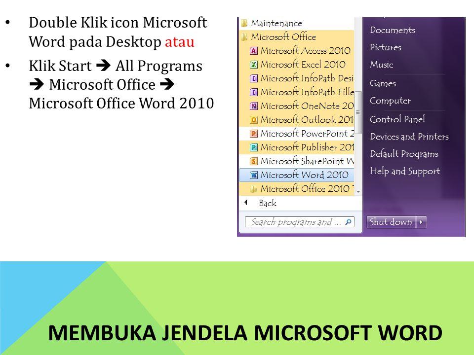 Membuka Jendela Microsoft Word