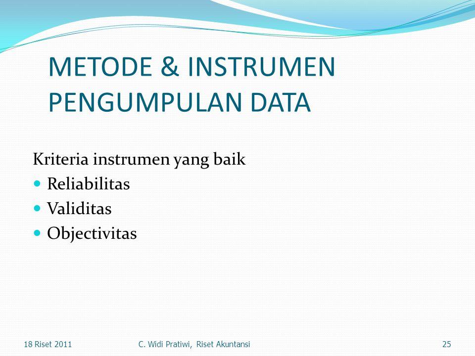 METODE & INSTRUMEN PENGUMPULAN DATA