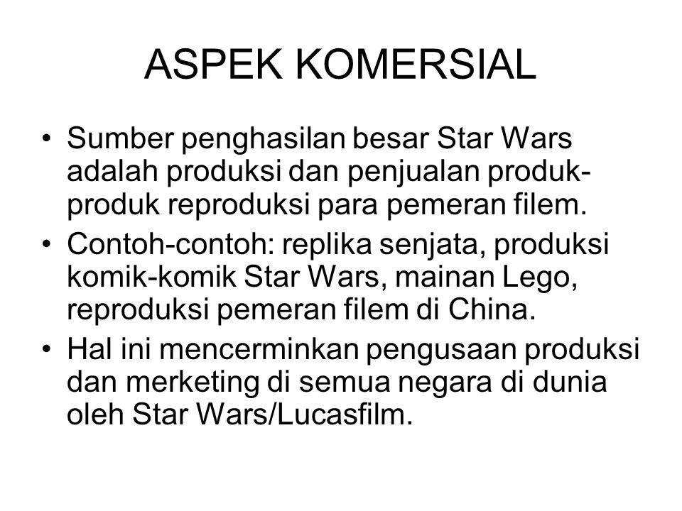 ASPEK KOMERSIAL Sumber penghasilan besar Star Wars adalah produksi dan penjualan produk-produk reproduksi para pemeran filem.