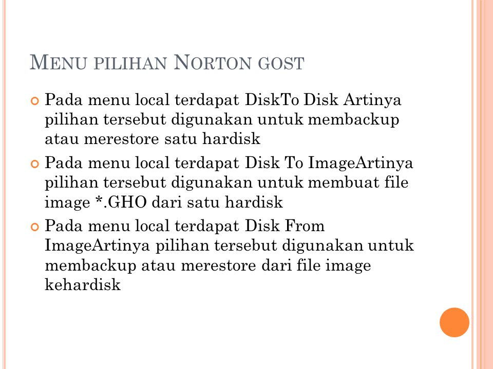 Menu pilihan Norton gost