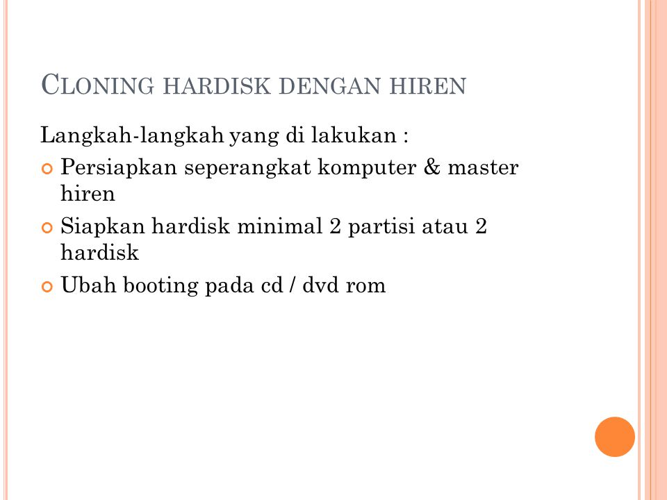 Cloning hardisk dengan hiren