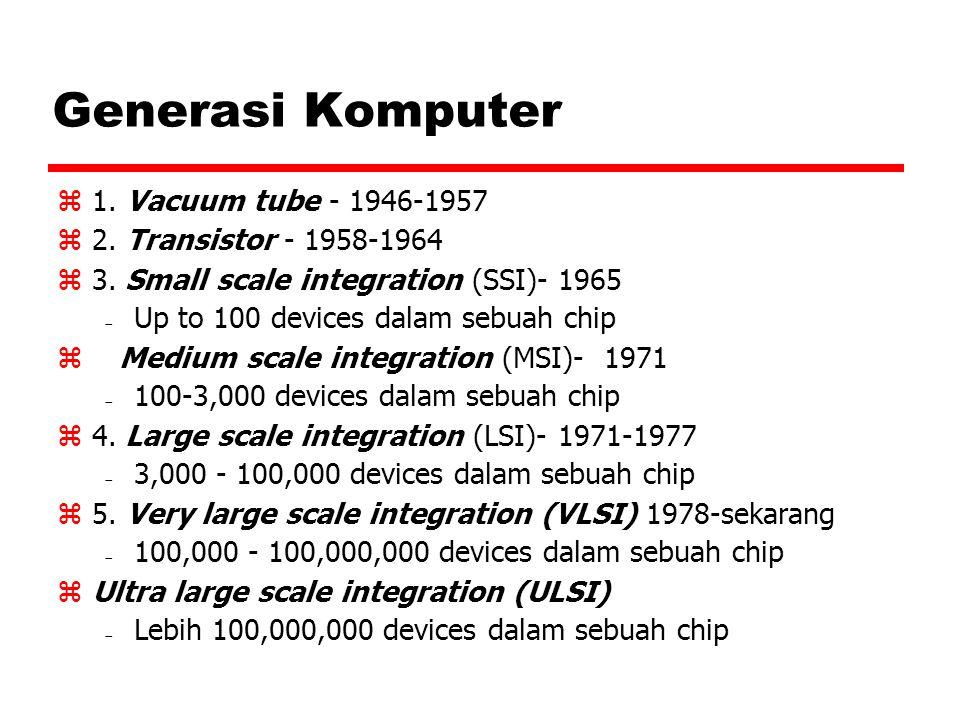 Generasi Komputer 1. Vacuum tube - 1946-1957 2. Transistor - 1958-1964