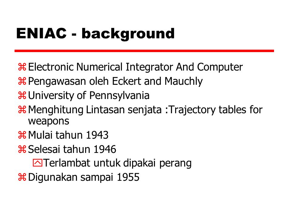 ENIAC - background Electronic Numerical Integrator And Computer
