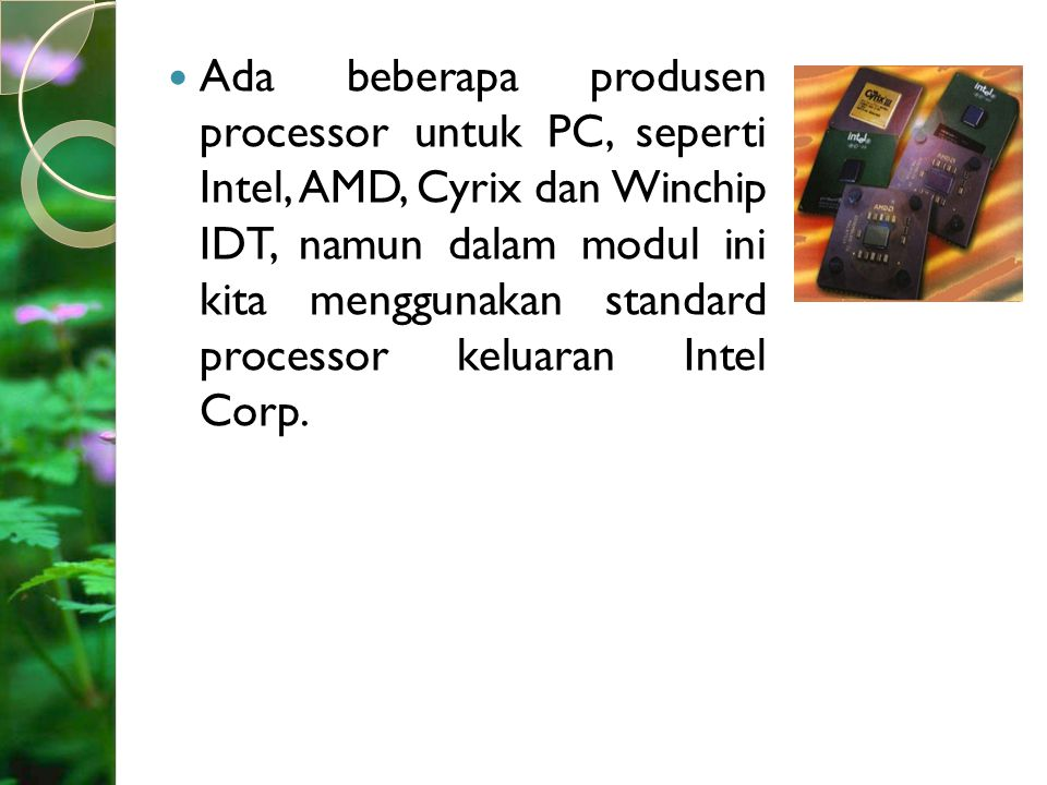 Ada beberapa produsen processor untuk PC, seperti Intel, AMD, Cyrix dan Winchip IDT, namun dalam modul ini kita menggunakan standard processor keluaran Intel Corp.