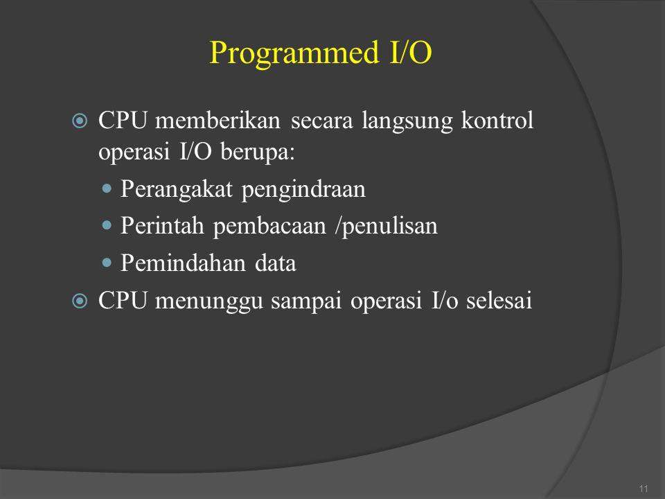 Programmed I/O CPU memberikan secara langsung kontrol operasi I/O berupa: Perangakat pengindraan. Perintah pembacaan /penulisan.