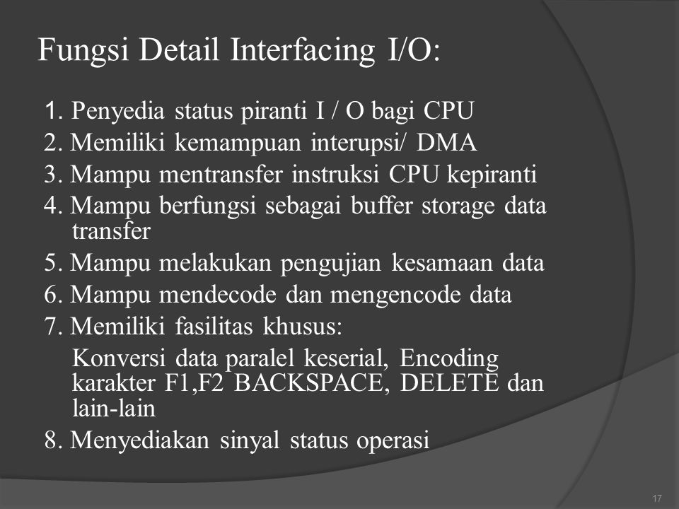 Fungsi Detail Interfacing I/O: