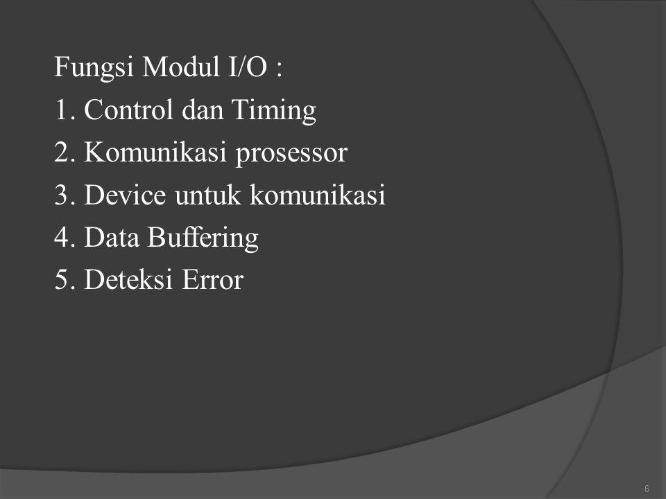Fungsi Modul I/O : 1. Control dan Timing 2. Komunikasi prosessor 3