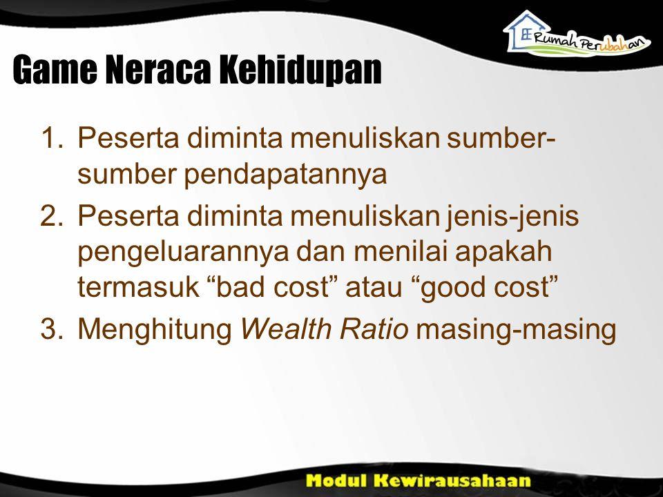 Game Neraca Kehidupan Peserta diminta menuliskan sumber-sumber pendapatannya.