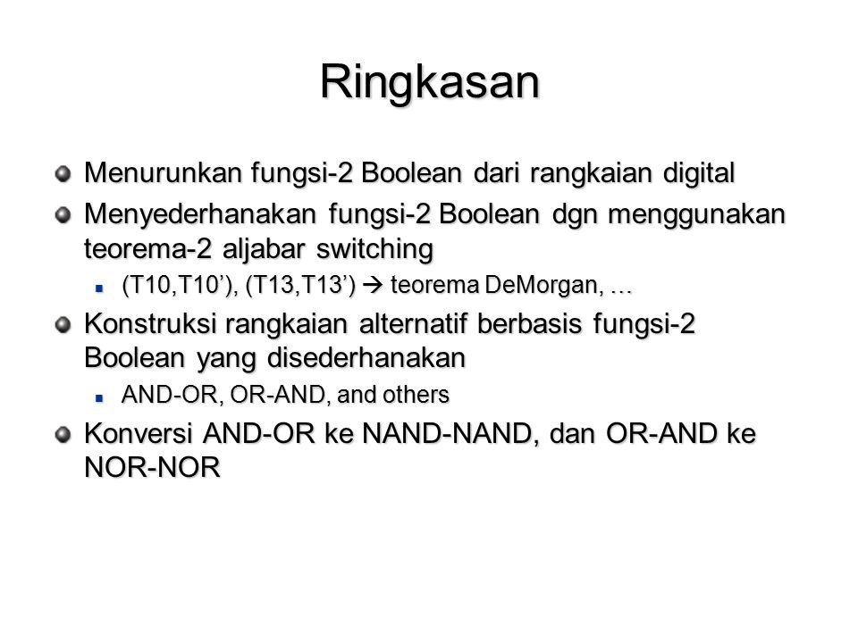 Ringkasan Menurunkan fungsi-2 Boolean dari rangkaian digital