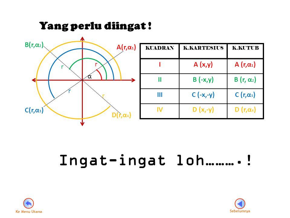 Ingat-ingat loh……….! Yang perlu diingat ! B(r,α2) A(r,α1) I A (x,y)
