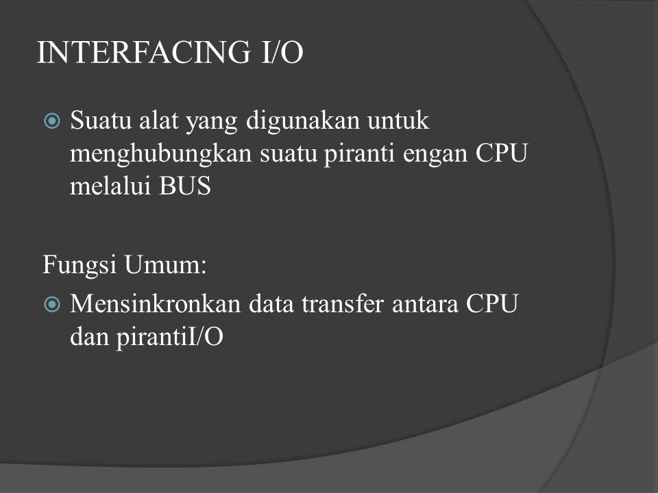 INTERFACING I/O Suatu alat yang digunakan untuk menghubungkan suatu piranti engan CPU melalui BUS. Fungsi Umum:
