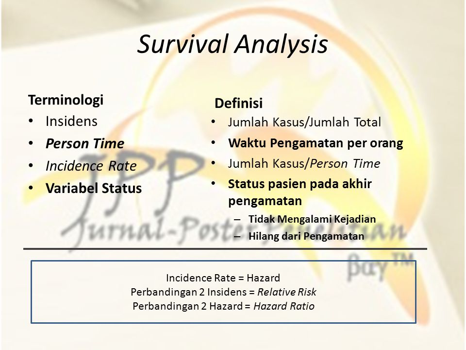 Survival Analysis Terminologi Definisi Insidens Person Time