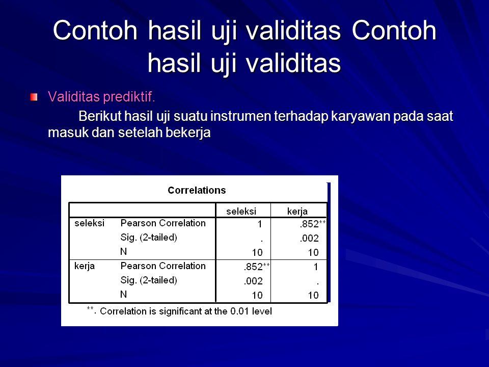 Contoh hasil uji validitas Contoh hasil uji validitas