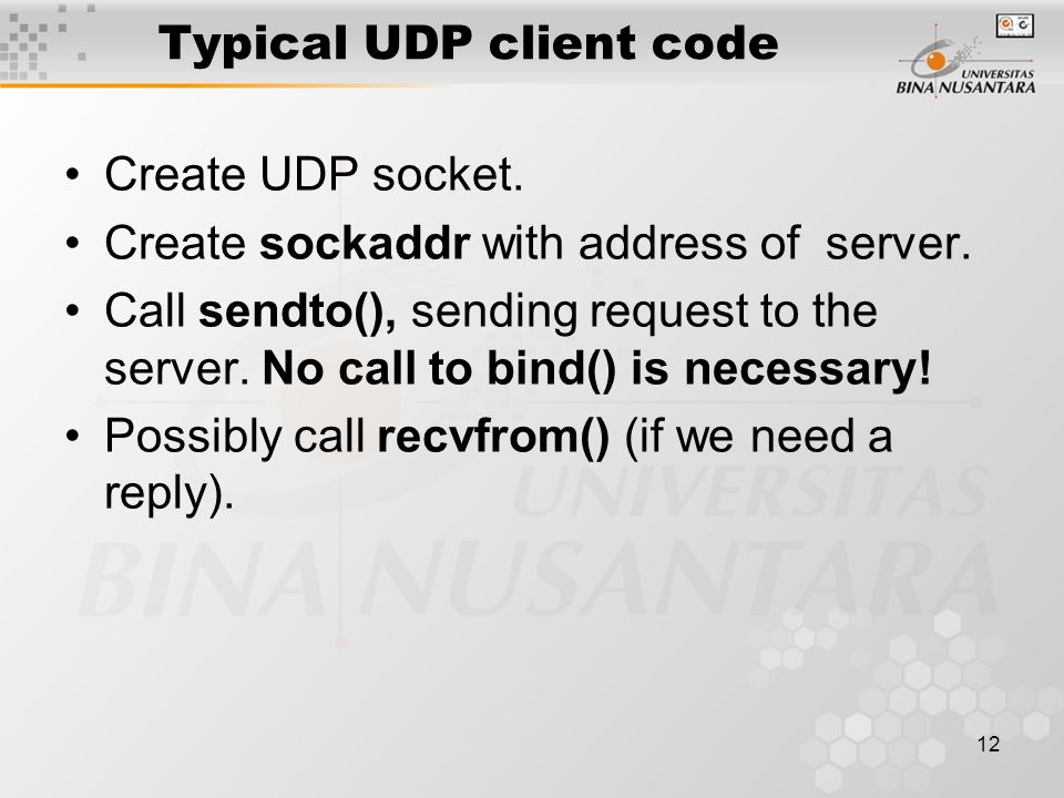 Typical UDP client code