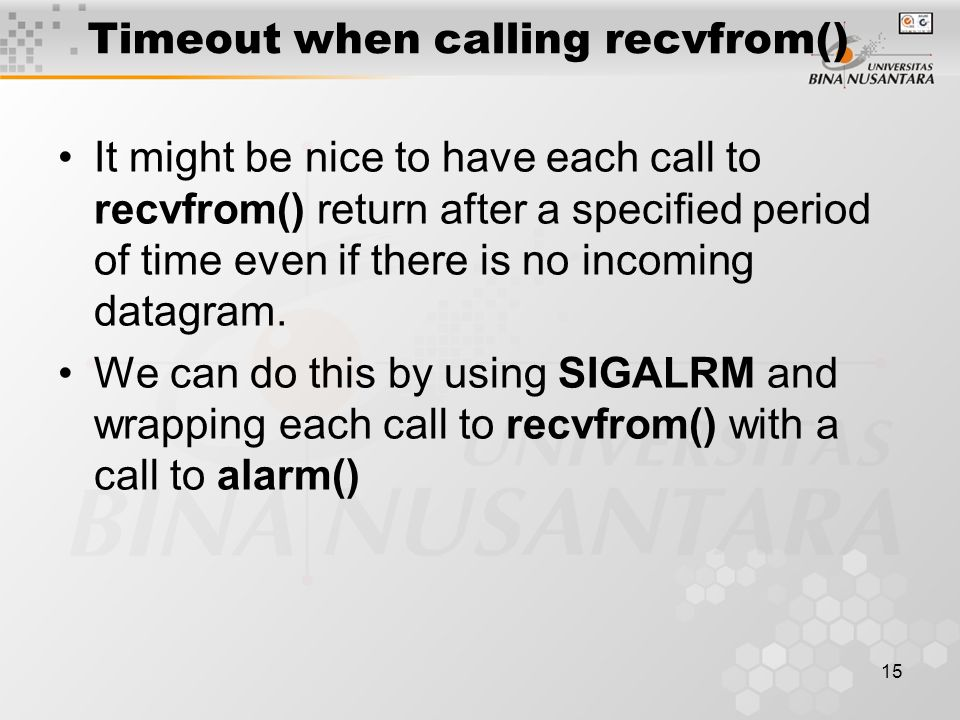 Timeout when calling recvfrom()