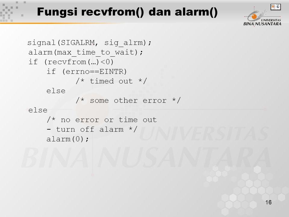 Fungsi recvfrom() dan alarm()