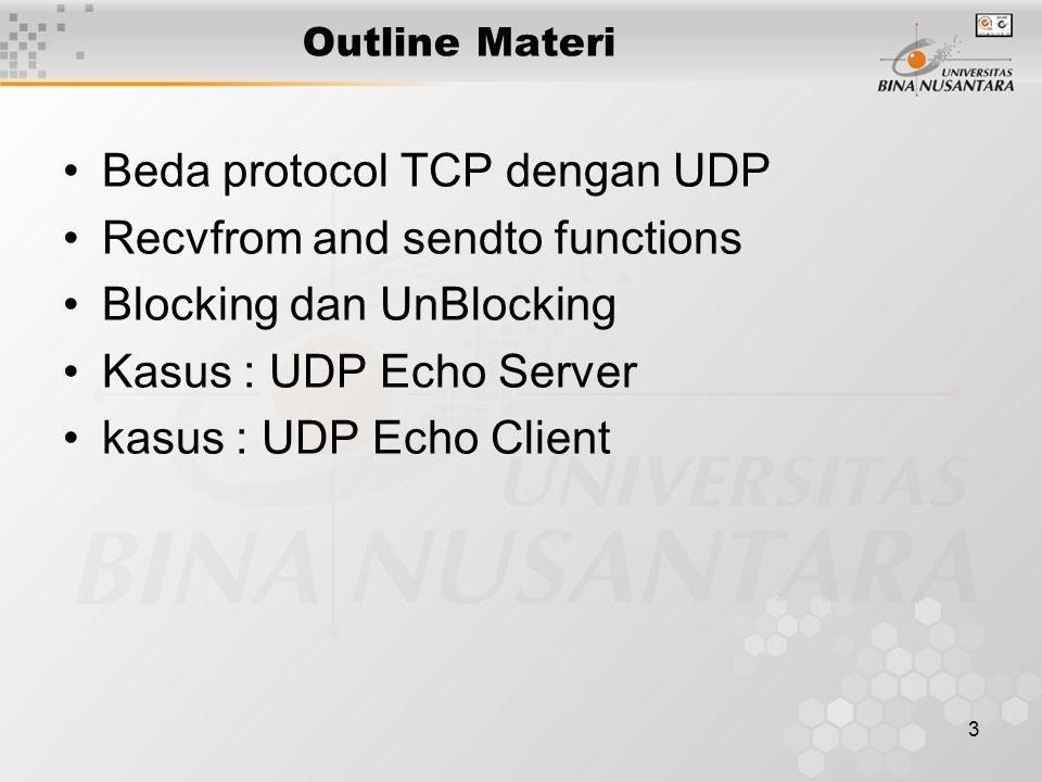 Beda protocol TCP dengan UDP Recvfrom and sendto functions