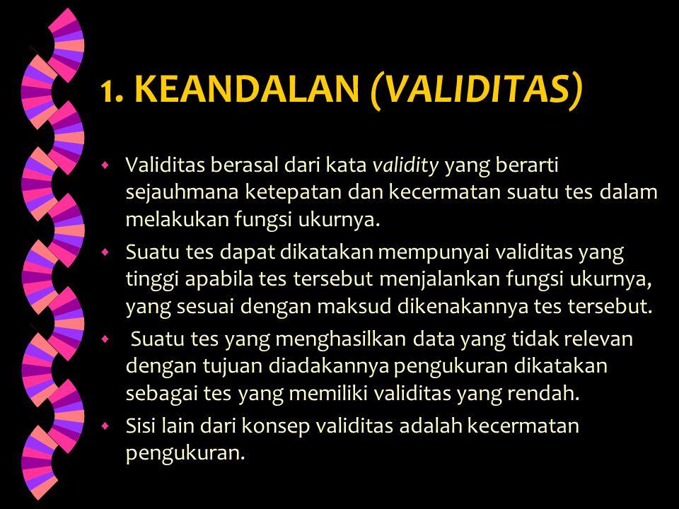 1. KEANDALAN (VALIDITAS)