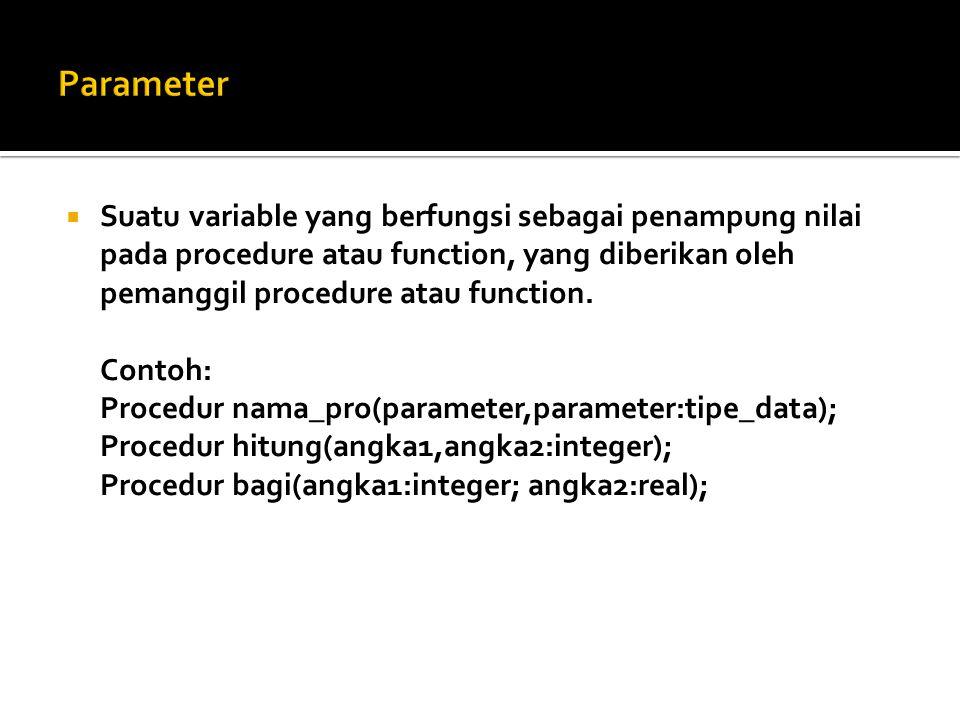 Parameter Suatu variable yang berfungsi sebagai penampung nilai pada procedure atau function, yang diberikan oleh pemanggil procedure atau function.