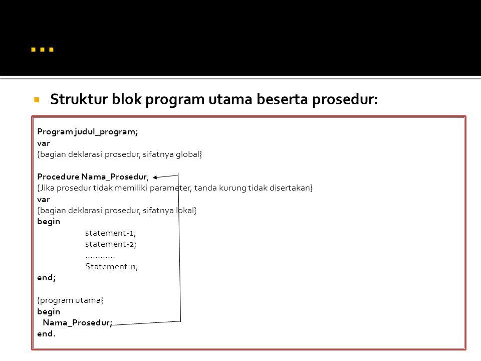 … Struktur blok program utama beserta prosedur: Program judul_program;