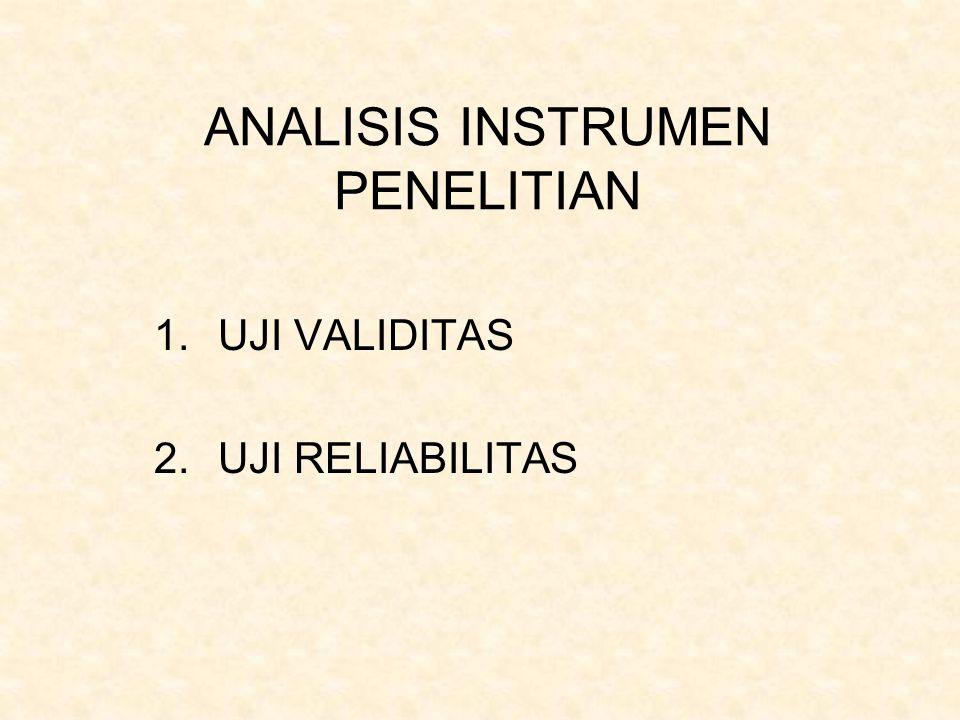 ANALISIS INSTRUMEN PENELITIAN