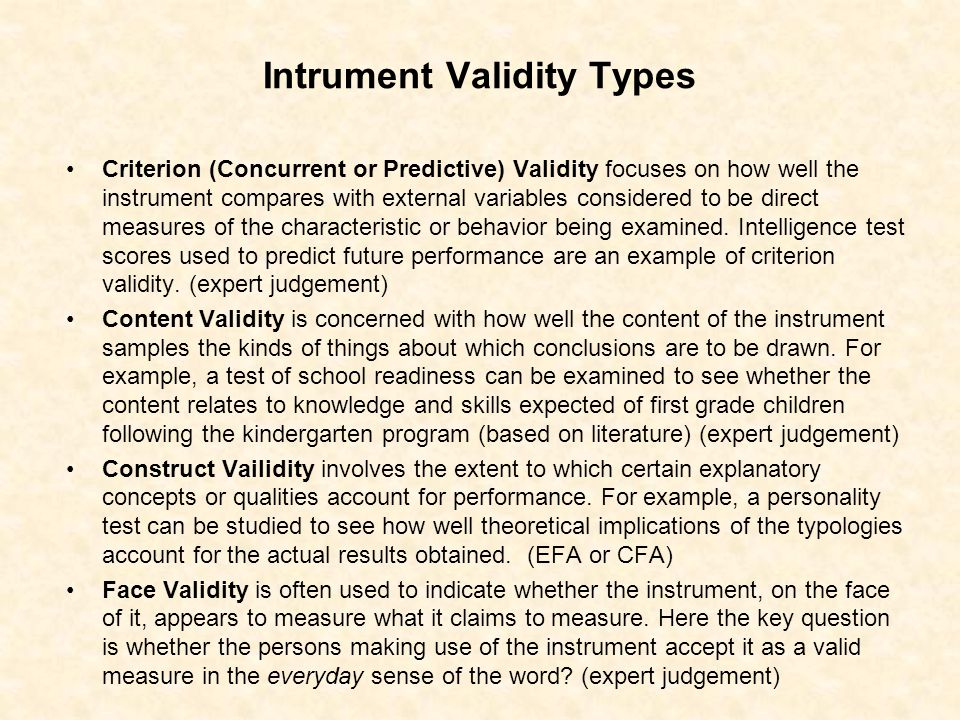 Intrument Validity Types