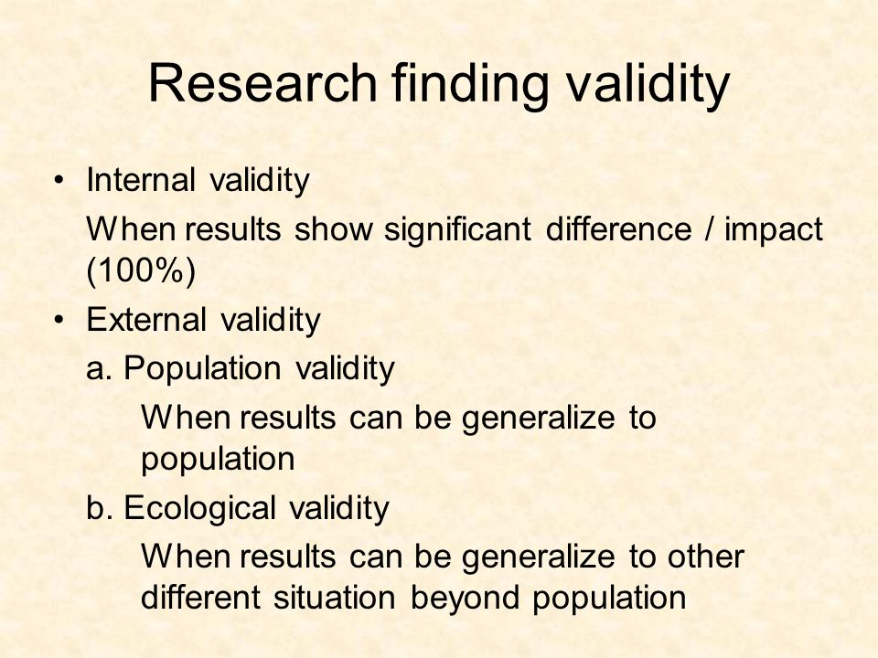 Research finding validity