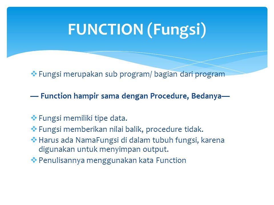 FUNCTION (Fungsi) Fungsi merupakan sub program/ bagian dari program