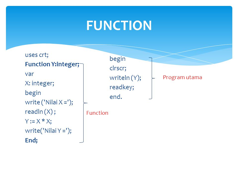 FUNCTION uses crt; Function Y:integer; var X: integer; begin write ( Nilai X = ); readln (X) ; Y := X * X; write( Nilai Y = ); End;